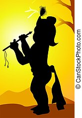 Krishna - Illustration of Lord Krishna' with his flute