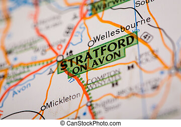 Stratford on Avon on a Road Map - Map Photography: Stratford...