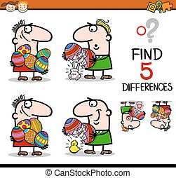 easter differences task - Cartoon Illustration of Finding...