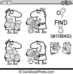 differences game coloring book - Black and White Cartoon...