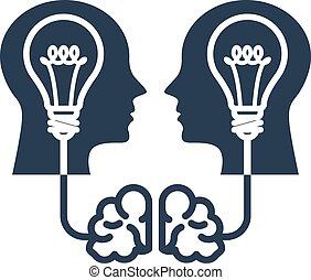 Intellectual property and ideas - head with light bulb and...