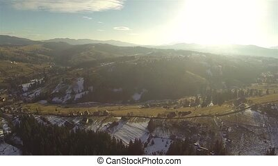 Aerial shot of coniferous forest in the Carpathian...