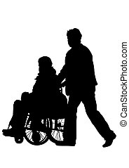 Wheel chair - Silhouettes wheelchair and women on white...