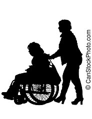Wheel chair people - Silhouettes wheelchair and women on...