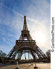 Wide angle Eiffel - Wide angle backlit panorama of the...