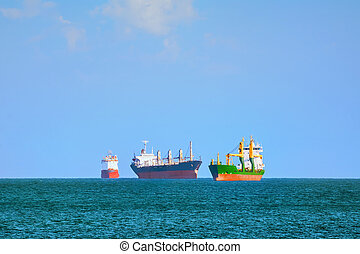 Cargo Ships in Black Sea - Cargo Ships Stacking Up In Black...