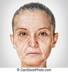 Old woman face portrait, aging process concept