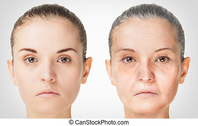 Aging process, rejuvenation anti-aging skin procedures old...