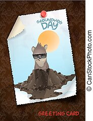 Happy Groundhog Day. - Greeting Card Design, Template. Happy...