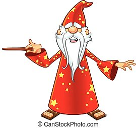 Red Old Wizard Character - A cartoon illustration of a...