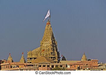 Krishna Dwarkadhish temple - FEB 11, 2015, DWARKA, INDIA -...