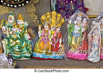 Souvenire sculptures for sale - FEB 11, 2015, DWARKA, INDIA...