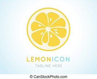 Yellow lemon grapefruit stylish icon. Juicy fruit logo -...
