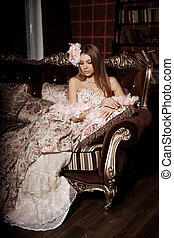 Luxury young smiling beauty woman in vintage dress in...