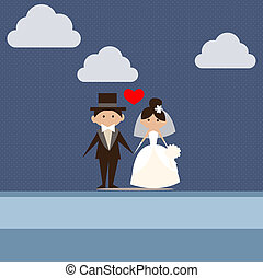 cartoon wedding card 01 - cartoon wedding post card