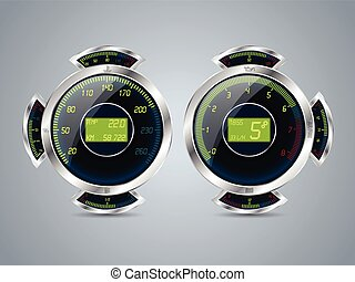 Digital speedometer rev counter with other gauges