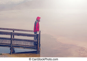 Man in Yellowstone - Man in Mammoth Hot Springs,Yellowstone...