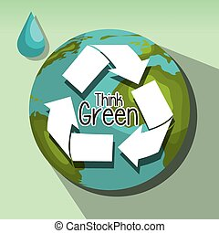 Save the world and ecology graphic design theme, vector...