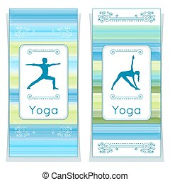 Yoga cards with yogi. - Vector yoga illustration. Yoga...