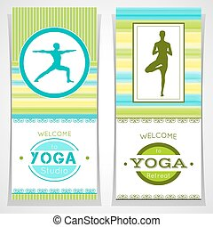 Yoga cards. - Vector yoga illustration. Yoga posters with...