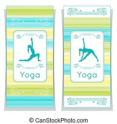 Yoga posters with floral ornament - Vector yoga illustration...