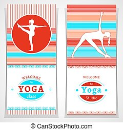 Yoga cards with yogi silhouette - Vector yoga illustration...