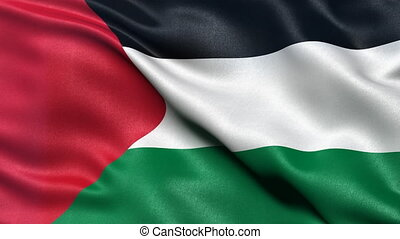 Palestine flag seamless loop - Realistic flag of Palestine...