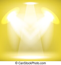 Stage Spotlight Background - Spotlights Isolated on Yellow...