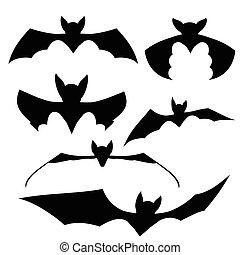 Bats Black Silhouettes - Bats Silhouettes. Set of Black Bats...