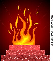 Homa  - Illustration of Homa with flames in red background