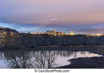 Portland City Skyline and Wildlife Refuge - Portland Oregon...