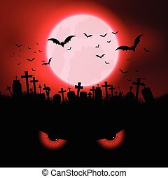 Halloween evil eyes background - Halloween background with...