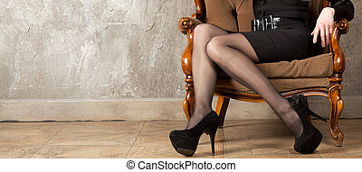 Female legs - Beautiful shapely female legs with high heels