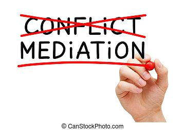Conflict Mediation Concept - Hand writing Mediation concept...