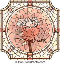 Mosaic flower pink rose.