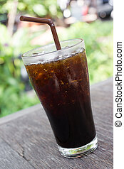 Iced Americano - Delicious ice coffee americano on wood...