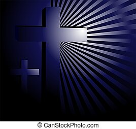 cross in blue beam light - Illustration of a cross in blue...