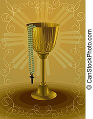 rosary and bowl 	 - Illustration of rosary and bowl
