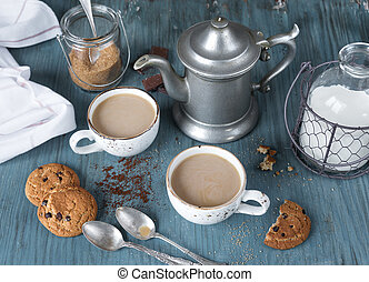 Coffee with milk and homemade oatmeal cookies - Family...