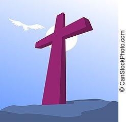 Cross - Illustration of a cross in a rock