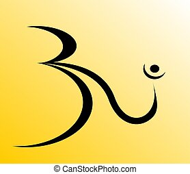 Religion - Illustration of Om in bright colour