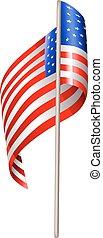 US waving flag isolated on white background