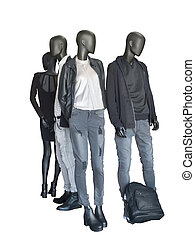 Group of mannequin wear casual clothing - Group of...