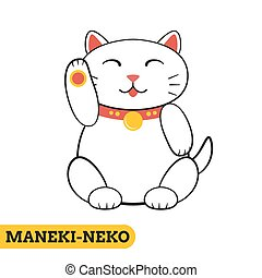 Maneki neko icon - Japanese maneki neko (lucky cat) icon in...
