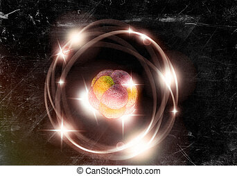 Atom Particle - Close up illustration of atomic particle for...