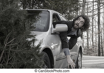Drunk Driving Car Accident - Drunk man hangs out of window...