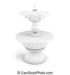 Two-tiered fountain on a white background 3D render image