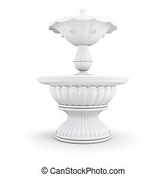 3d city fountain in two bowls isolated on white background