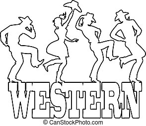 Vector Clip Art of Cowboy dancing - Young couple dressed in ...