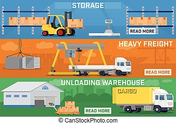 Warehouse and logistics banner set.